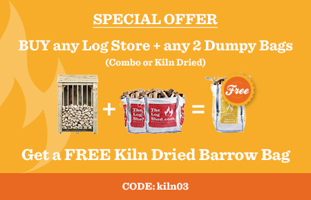 Buy any Log Store and any 2 Dumpy Bags and get a FREE Kiln Dried Barrow Bag